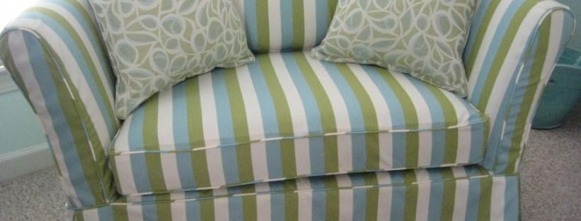 Outdoor stripe slipcover aqua and lime