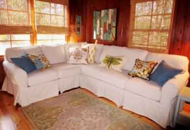 Slipcovered Ticking Stripe Sectional