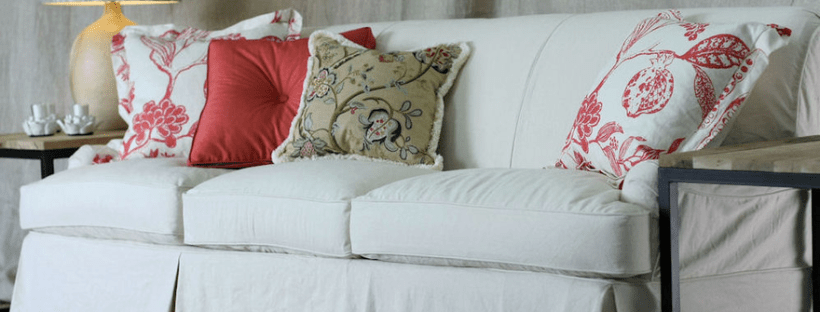 canvas slipcovered sofa and pillows