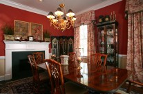 Traditional Dining Room with Chinese Toile fabric, Devine Toile brick red paint color