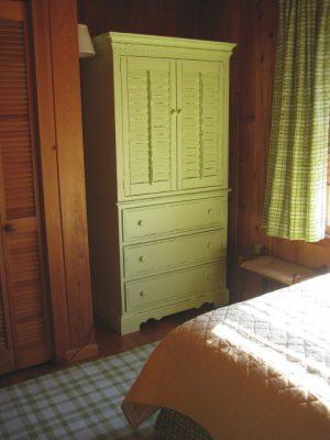 lime green shutter beach cabinet