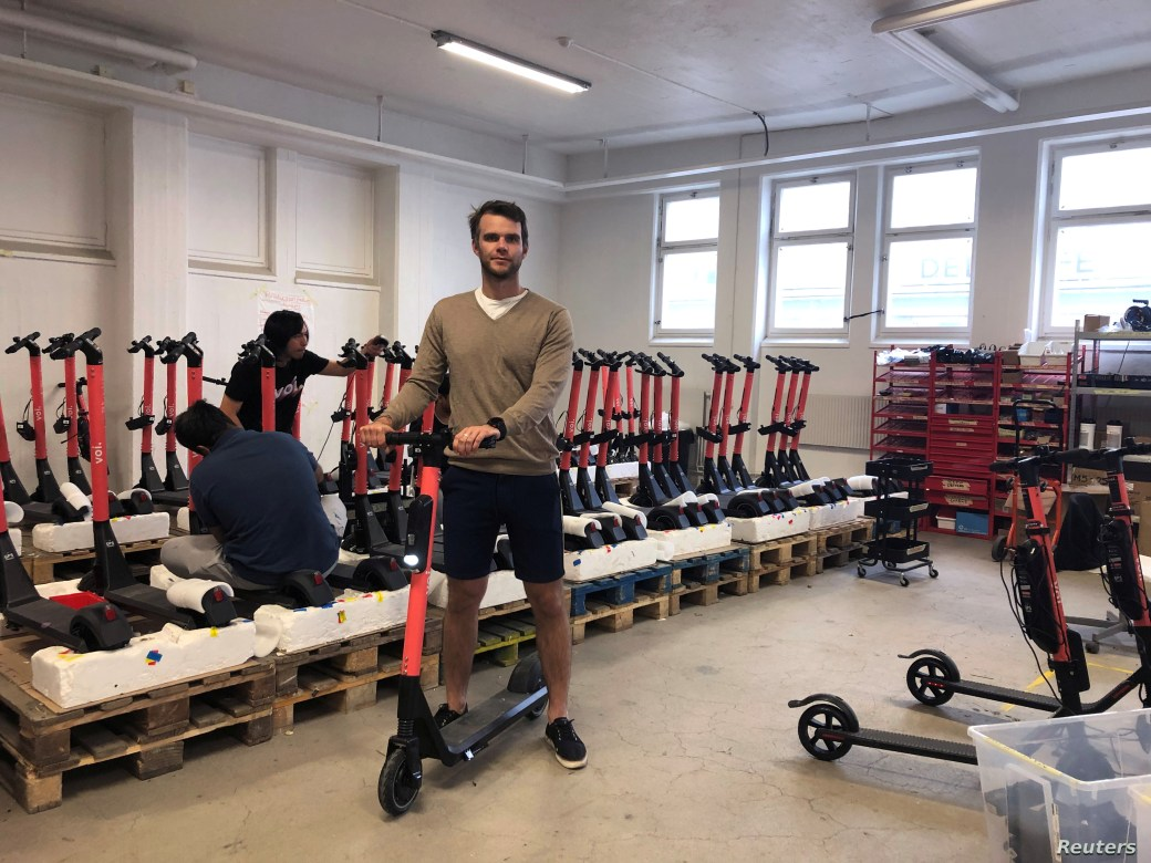 Fredrik Hjelm, Swedish startup VOI cofounder and chief executive, poses at the company's workshop in Stockholm, Sweden, July 6, 2019.