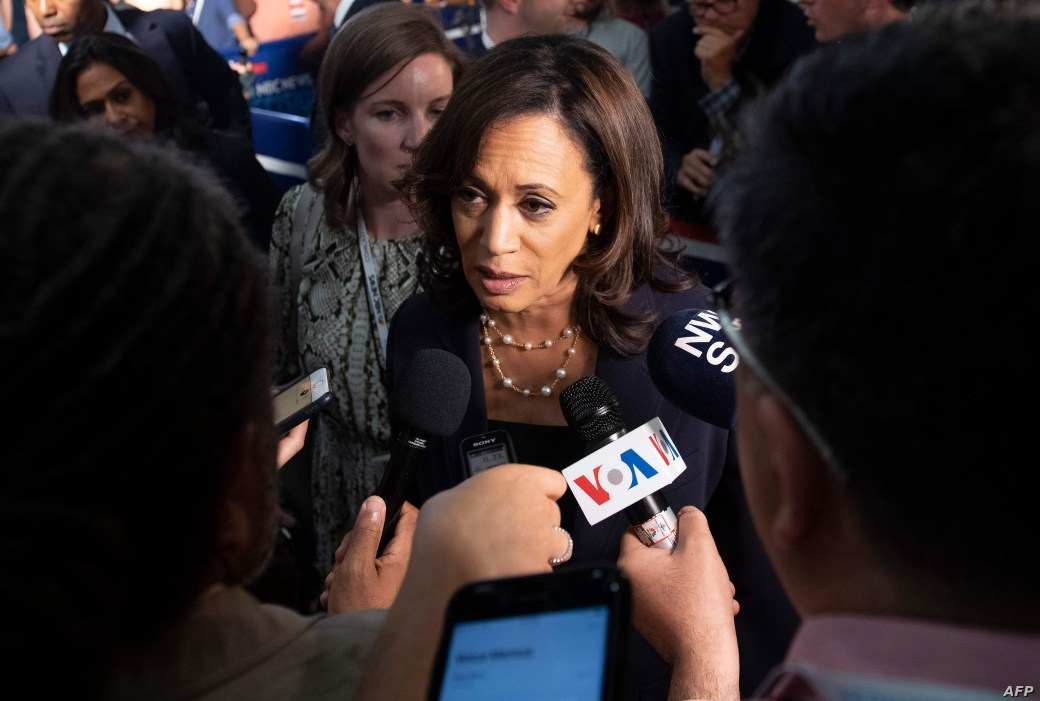 Democratic presidential hopeful US Senator for California Kamala Harris speaks to the press in the Spin Room after the second Democratic primary debate of the 2020 presidential campaign season hosted by NBC News at the Adrienne Arsht Center for the…