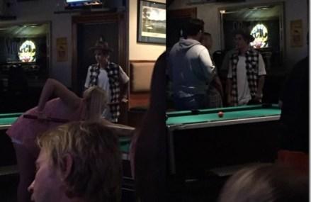 Justin Bieber Chilling & Playing Pool At Bar In LA Quinta, California