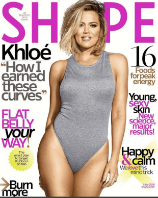 Khloe Kardashian shows off her fabulous and fit body on the cover of Shape magazine