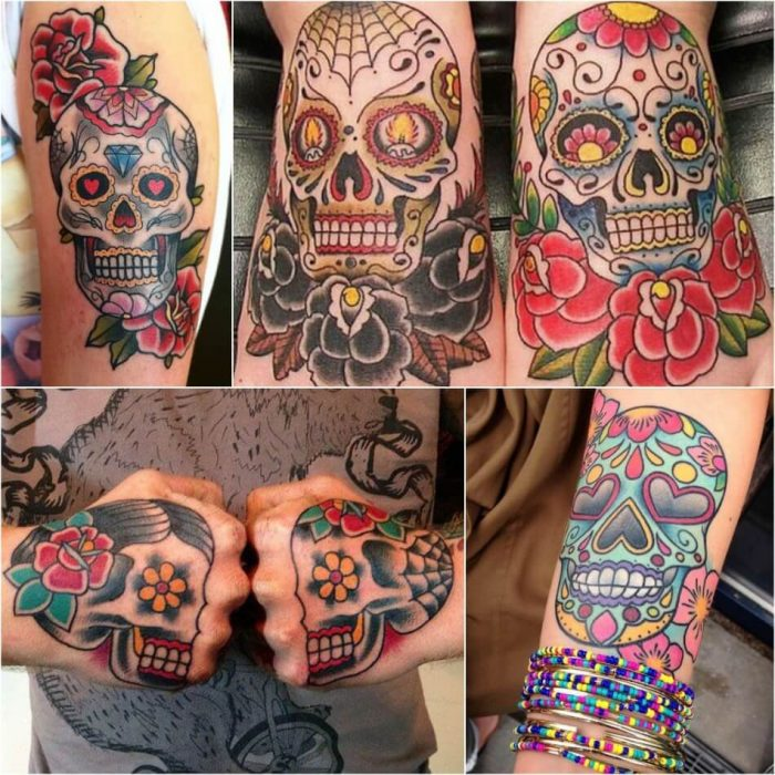Mens Mexican Sugar Skull Tattoo