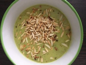Curry zucchini soup green recipe for St. Patrick's Day Angela Hubbard RD