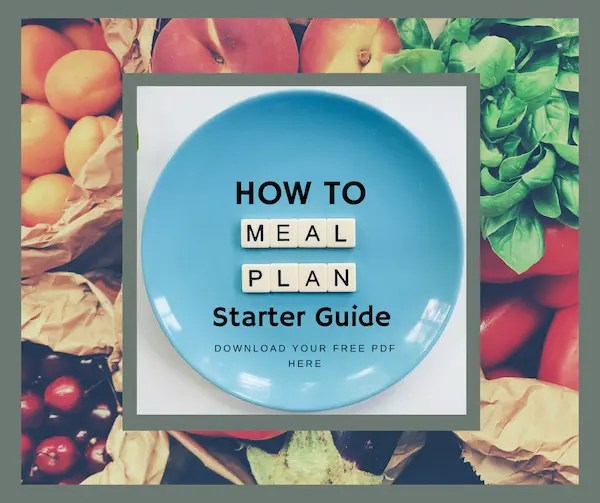 how to meal plan starter guide written on blue plate with fresh fruits and vegetables in background