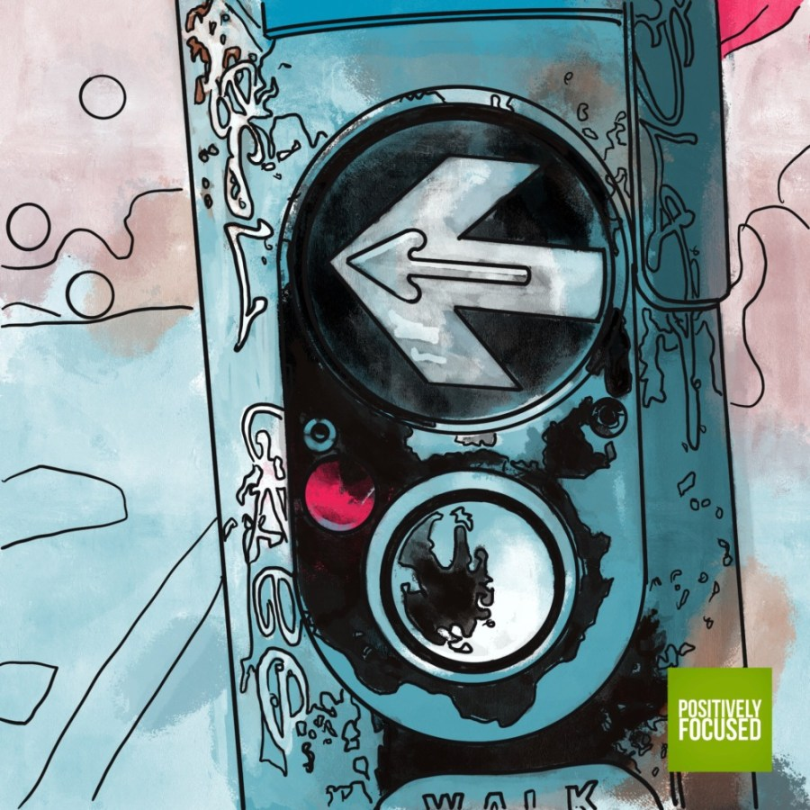 Positively Focused illustration panel of a crosswalk activation button