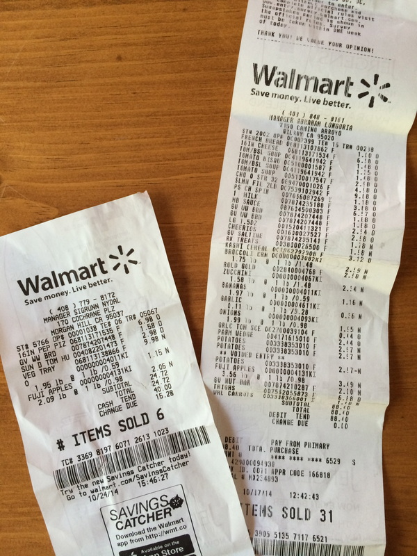 Two shopping trips: $88.40 and $24.72 plus $5.00 for a ham steak from the freezer equals $118.12 for the week.