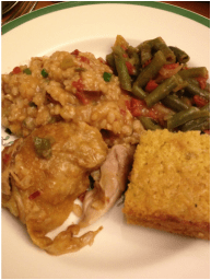 A Cajun meal of Chicken and Sausage Jambalaya, Green Chili Cheesy Cornbread, Green Beans, and Sweet Potato Pie!
