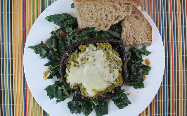 Portobello with Pesto and Quinoa