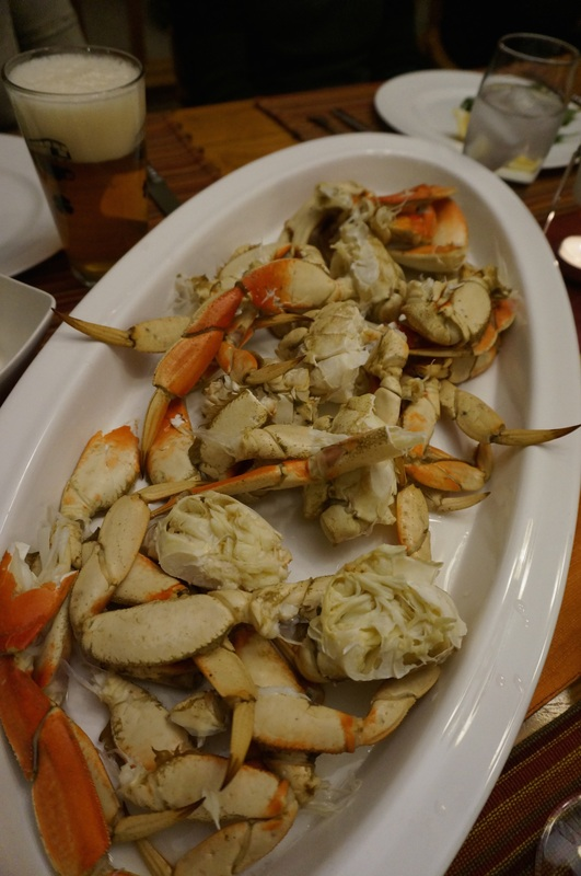 Two big platters of cracked crab! One for each end of the table.