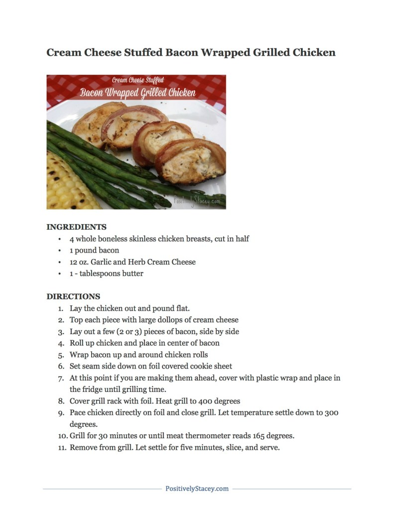 Cream Cheese Stuffed Bacon Wrapped Grilled Chicken Recipe