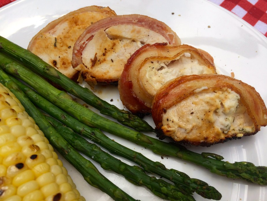 Cream Cheese Stuffed Bacon Wrapped Grilled Chicken