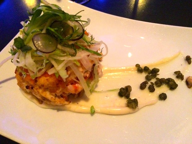 Wild Blue Crab Cake with  Chayote slaw and Creole remoulade sauce