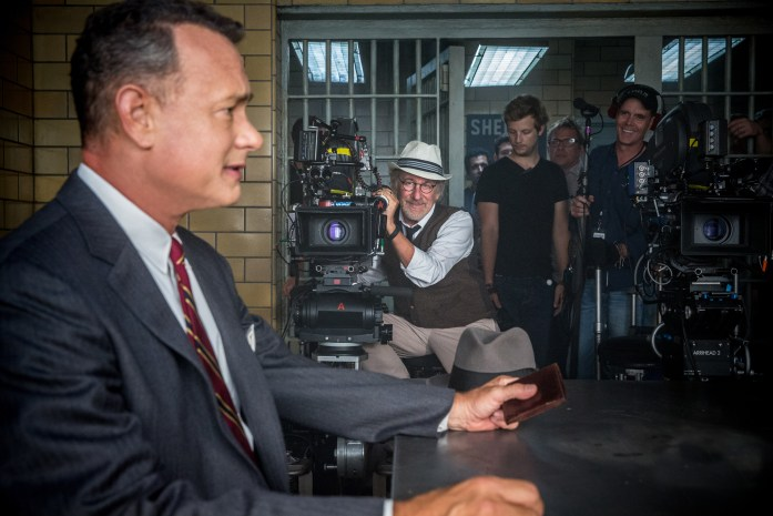 Director Steven Spielberg with Tom Hanks on the set of DreamWorks Pictures/Fox 2000 Pictures' dramatic thriller BRIDGE OF SPIES.