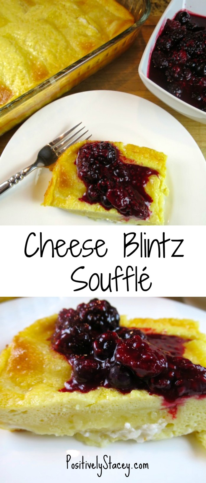 Oh, la, la, these pillows of cheese, vanilla, and crêpes are oh so light, sweet, and absolutely delicious! The Cheese Blintz Soufflé recipe is super easy!