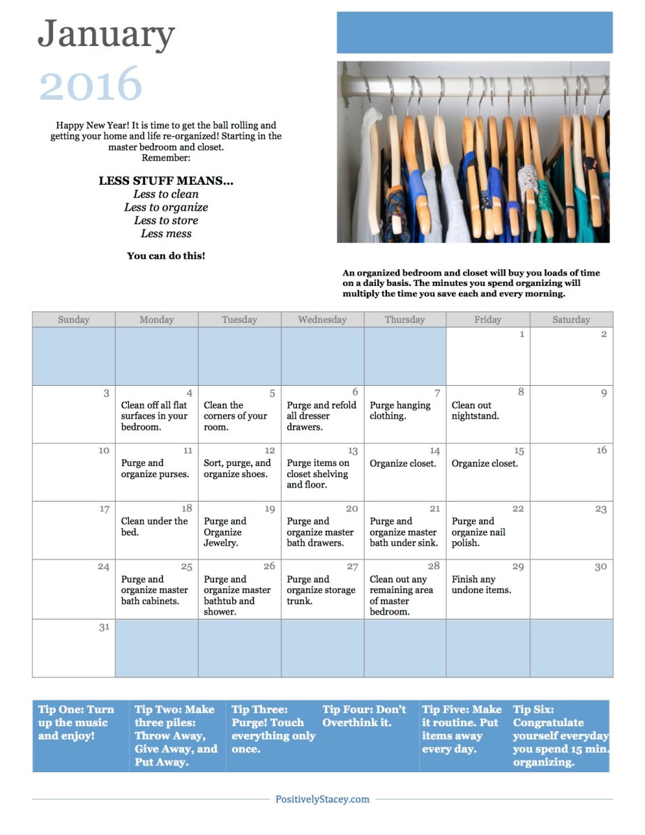 January 2016 Organization Calendar copy