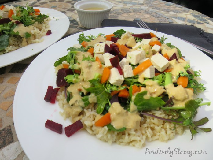 Colorful Veggie Filled Brown Rice with Ginger-Lemon Dressing
