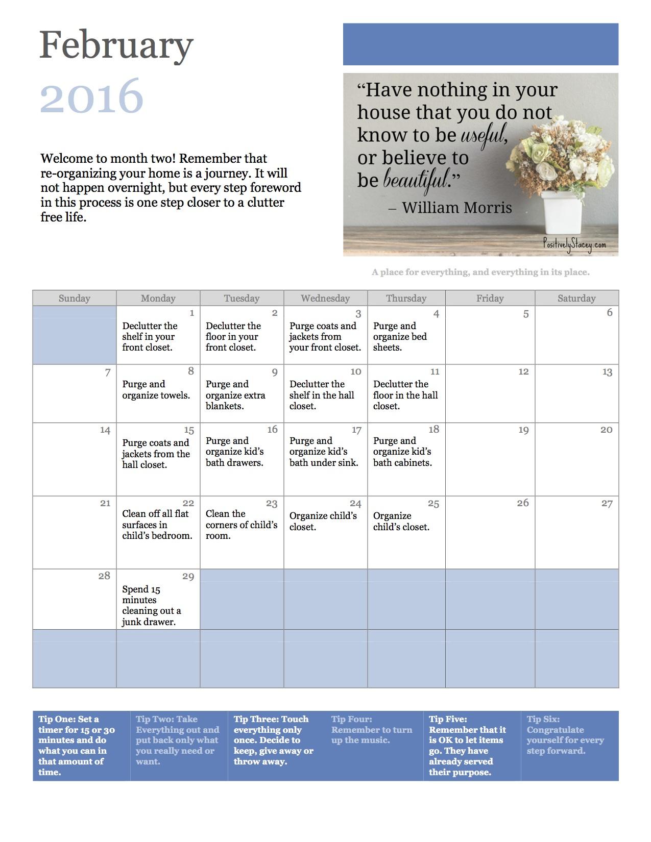 February Home Organization Plan copy
