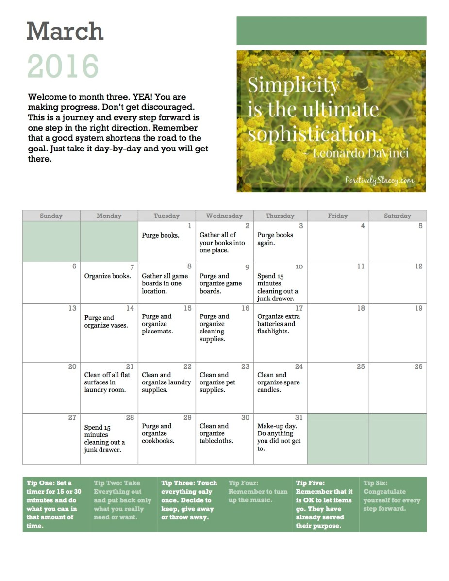 Getting Organized! Home Organization Plan March Calendar