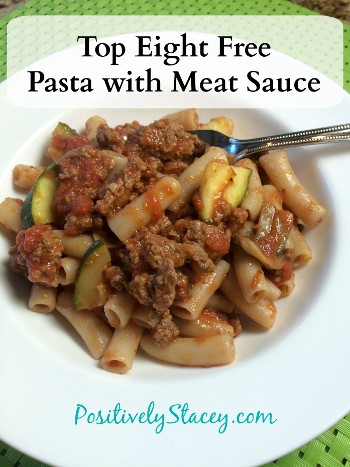 Top Eight Free Pasta with Meat Sauce #dairyfree #wheatfree #soyfree #eggfree #nutfree #fishfree dinner