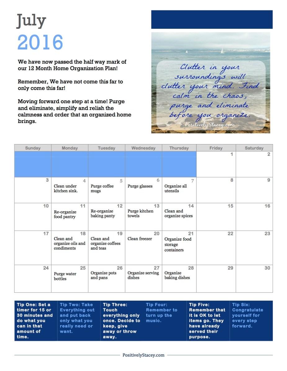 July Home Organization Plan