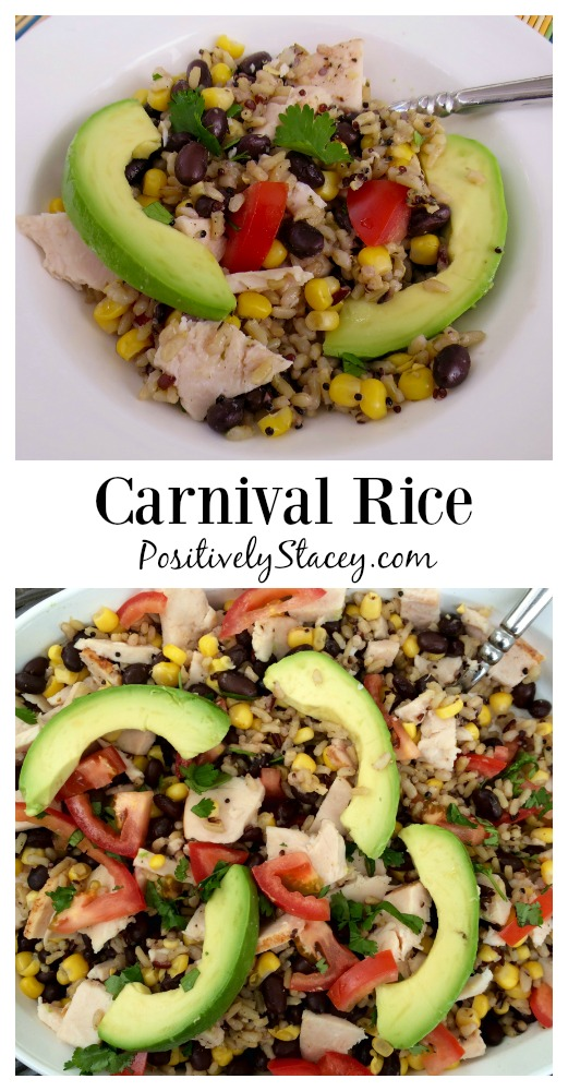 Carnival Rice is a flavorful mix of Uncle Ben's Rice, vegetables, chicken, and a few fresh toppings. A kid friendly recipe!