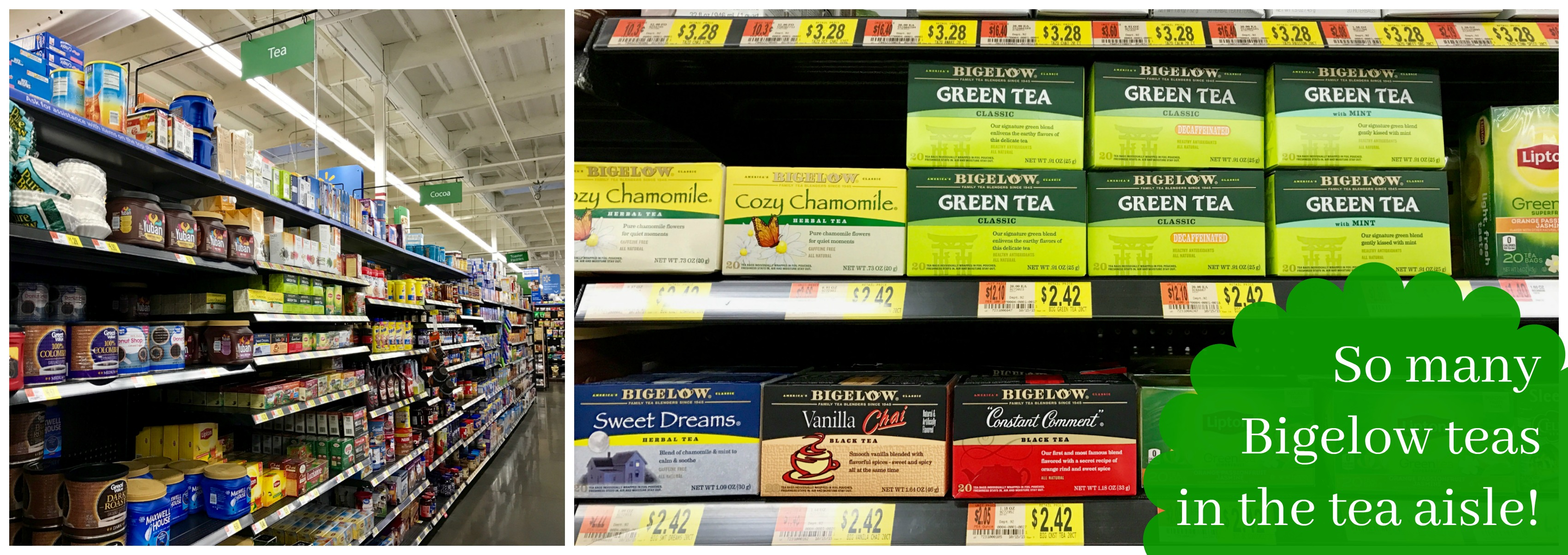 So many Bigelow teas in the tea aisle!