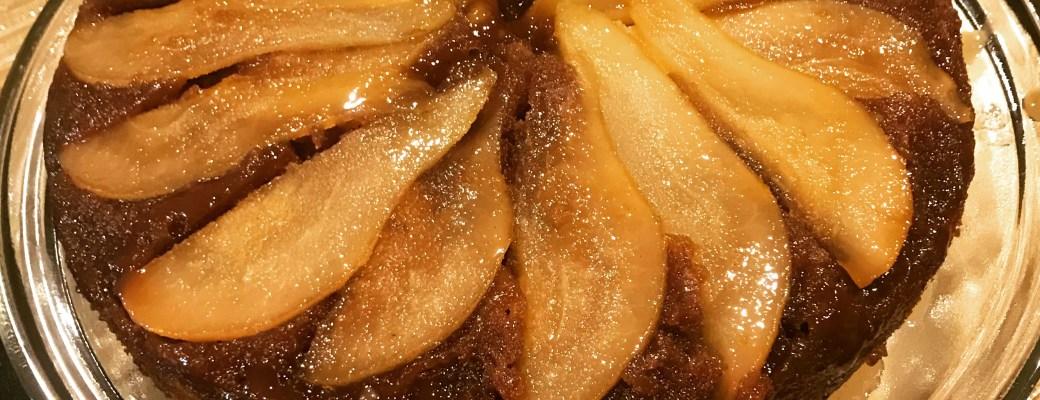 Pear Upside-Down Spice Cake #SundaySupper