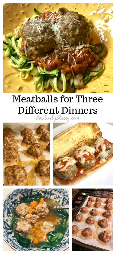 Meal prep is easy when you start with these scrumptious meatballs! It is so easy to put together three different dinners that your family will love. My yummy meatball recipe is made into three different sized meatballs for three different dinners. Prep once and you will have the basis for Meatballs and Zoodles (or spaghetti if you prefer), Meatball Heroes, and Italian Wedding Soup.