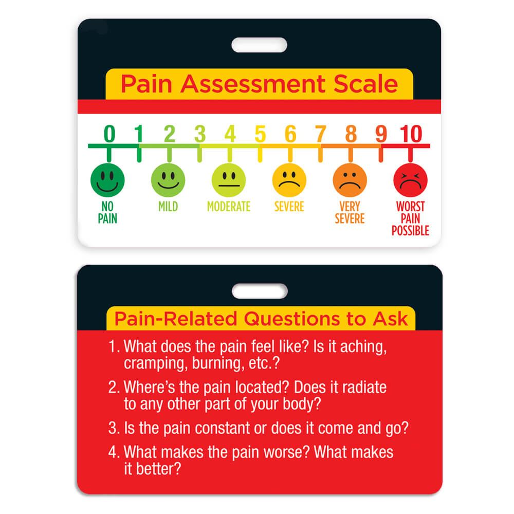 hight resolution of pain assessment scale laminated badge card