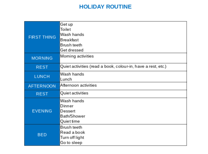 Holiday Routine Screenshot - positivespecialneedsparenting.com