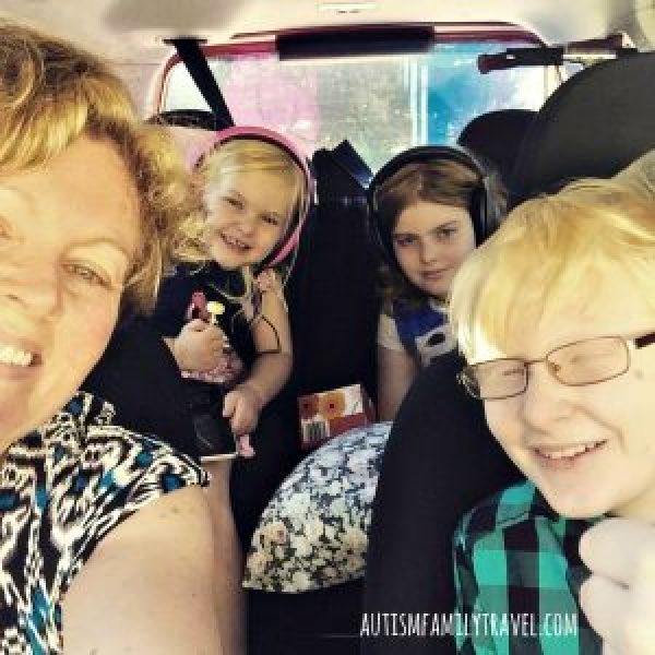Road trip selfie with autistic kids - www.positivespecialneedsparenting.com