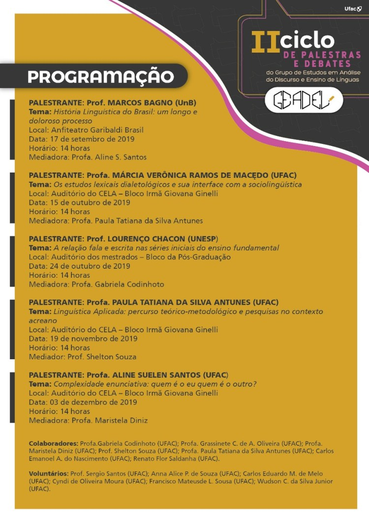 II Ciclo de Palestras e Debates do Grupo de Estudos em Análise do Discurso e Ensino de Línguas – GEADEL (2)