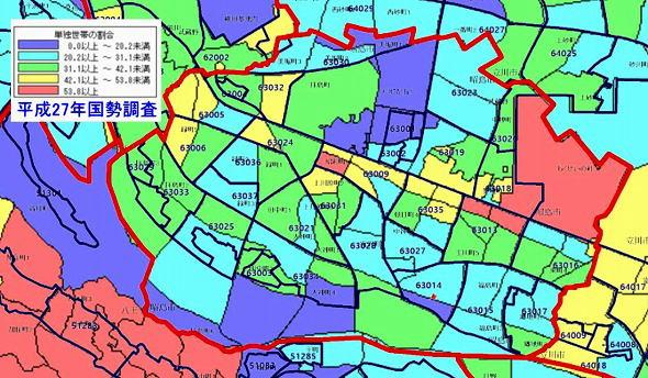 ポスティング資料 昭島市単独世帯の割合 平成22年度国勢調査