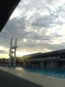 the pool, the diving ramp, the sky