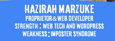 """Under a short bio of myself, it is stated: """"Weakness: Imposter Syndrome"""""""