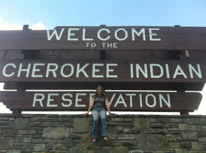 Me on the reservation sign