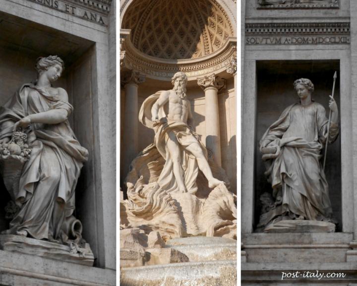 estátuas da Fontana di Trevi