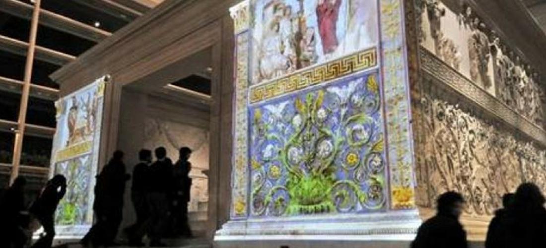 Ara Pacis ou Altar da Paz de Augusto visto com a realidade aumentada