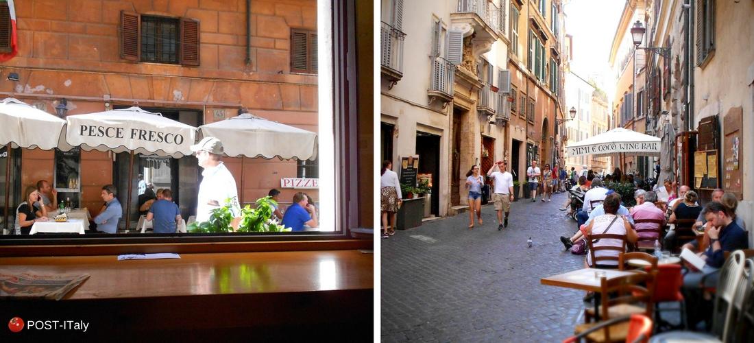 ruas do centro de Roma