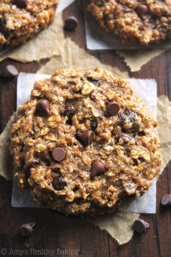 Chocolate Chip Almond Butter Oatmeal Cookies