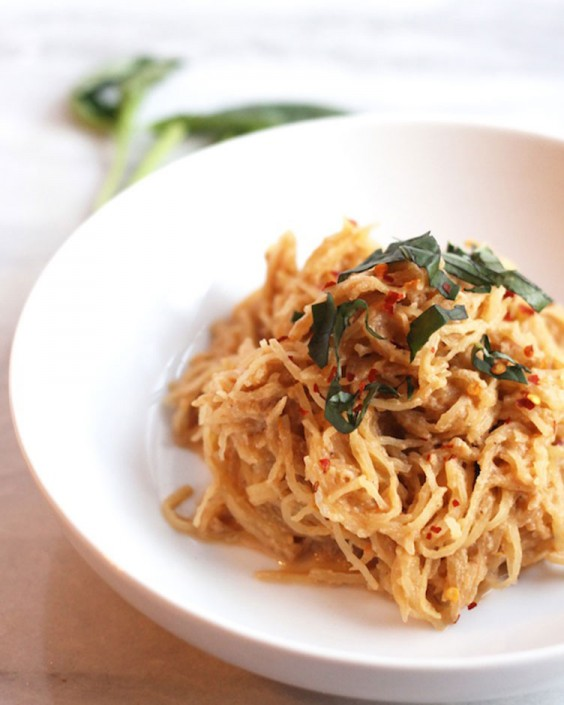 Spaghetti Squash With Vegan Fire-Roasted Tomato Cream Sauce