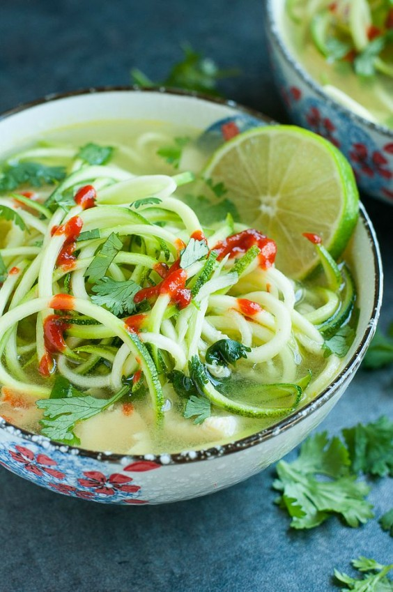 Spicy Lime Chicken Zoodle Soup