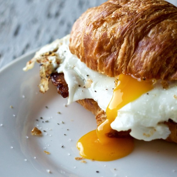 1. Bacon and Egg Croissant Sandwich