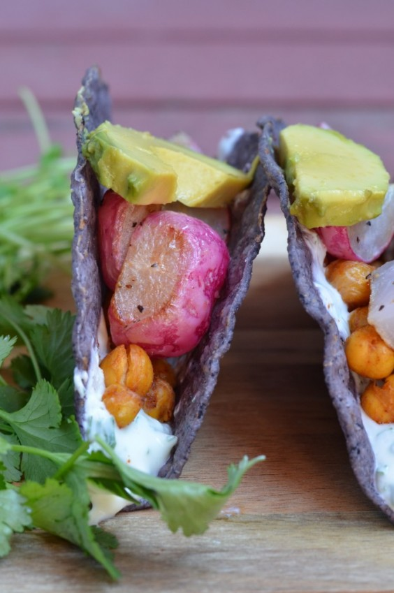 Roasted Radish and Chickpea Tacos