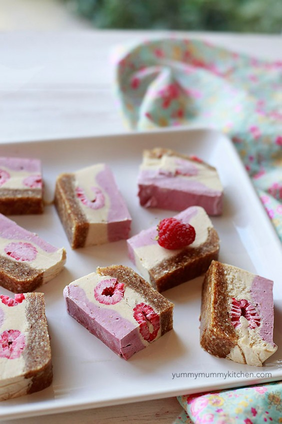 4. Raspberry Raw Vegan Cheesecake Slice