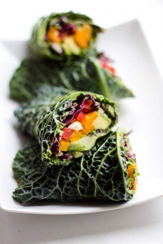Lunch Ideas: Raw Veggie Wraps with Arugula Pesto